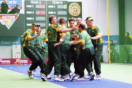 South African Indoor Cricket team during World Masters Indoor Cricket championships, New Zealand 2003
